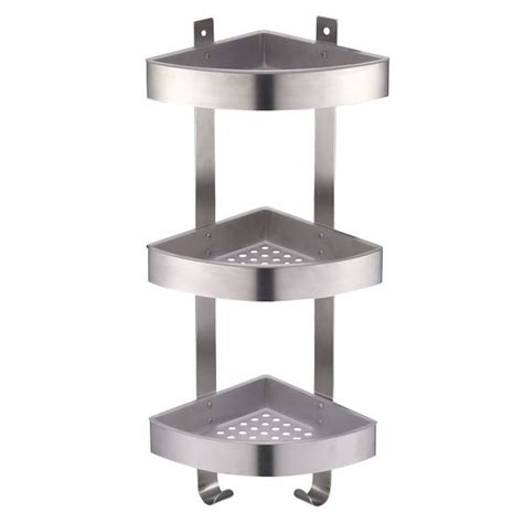 3 tier corner shower caddy with brushed chrome effect