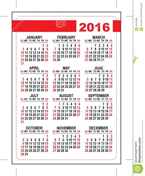 2016 pocket calendar template grid first day sunday