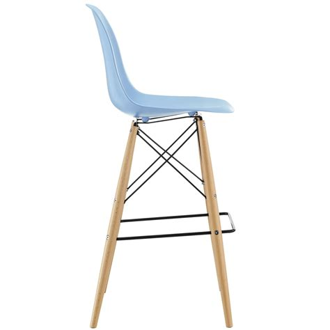 Light Blue Leather Bar Stools by Ceremony Wood Barstool Brickell Collection