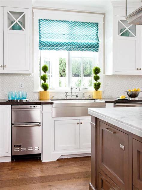 shades of white kitchen turquoise roman shade cottage kitchen bhg