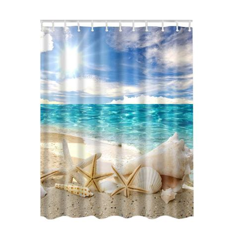 beach shower curtain fabric waterproof bathroom bath ocean sea beach shells
