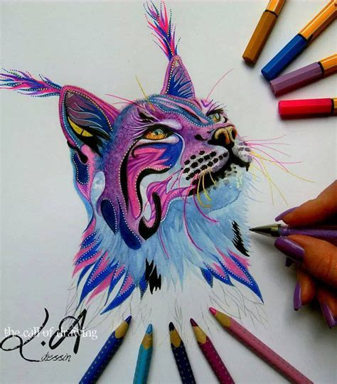 Colored Drawings Cat Color Pencil Drawing By Lorine Image by Colored Drawings