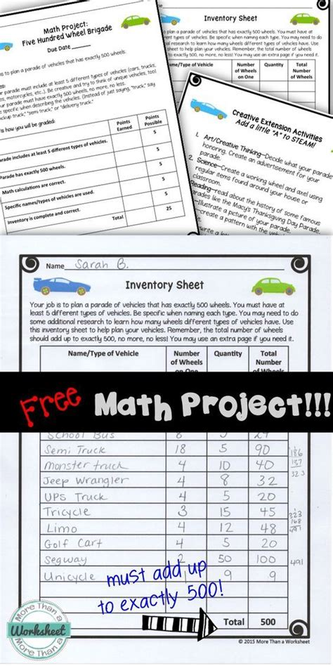 a free math project for grades 3 5 from more than a