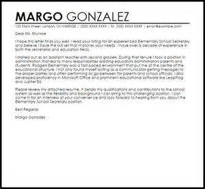 cover letter for position at school elementary school cover letter sle letter