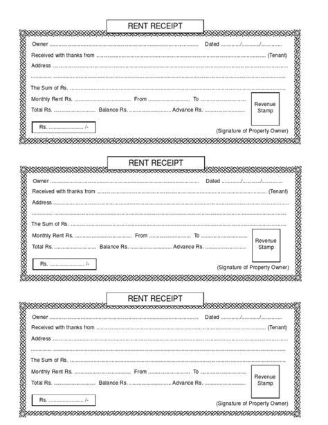 Rent Receipt Template India by Rent Receipt