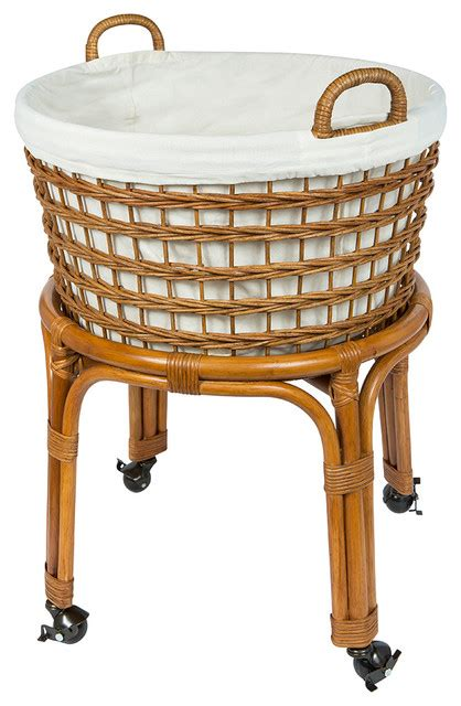 Rolling Wicker Laundry Basket And Her With Cotton Liner Wicker Laundry With Liner