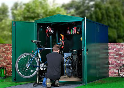 Metal Bike Shed by Metal Bike Storage Shed Bike Maintenance Garage Secured