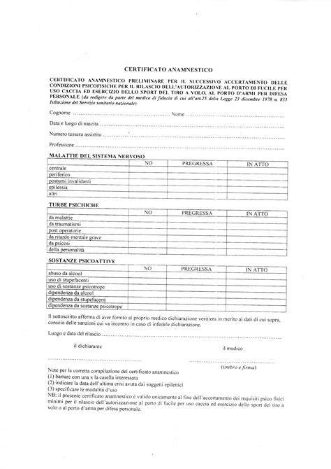 certificato anamnestico porto d armi uso sportivo allegati e benvenuti su tsncarosino