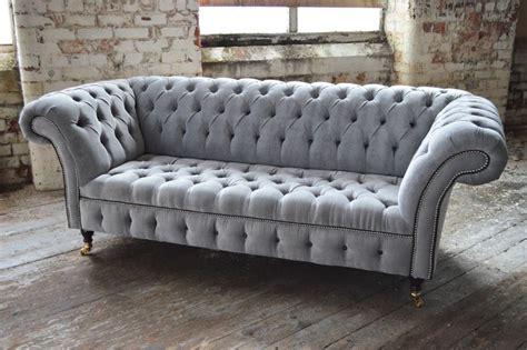 modern handmade silver velvet fabric chesterfield sofa