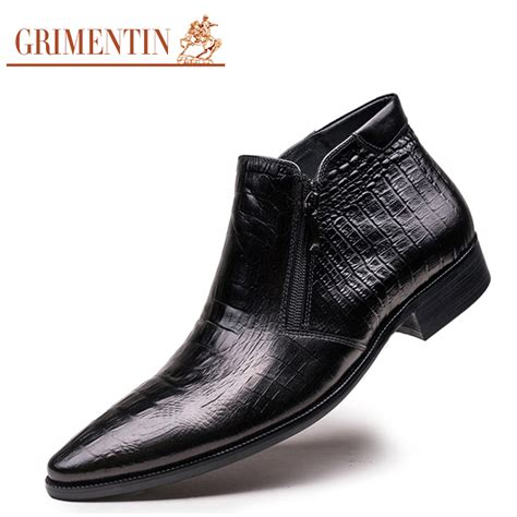 comfortable dress boots for men grimentin brand crocodile grain mens ankle boots genuine