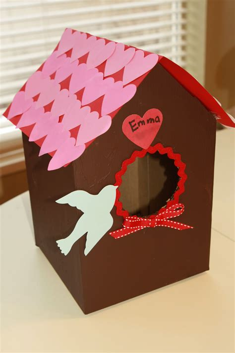 valentin s day bird house card box craft preschool