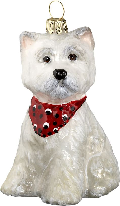 westie puppy with bandana dog ornament