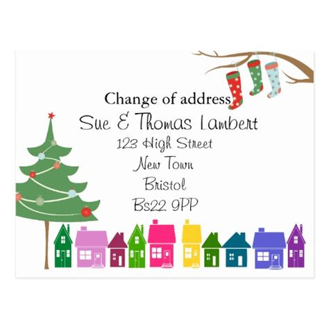 christmas change of address postcard zazzle
