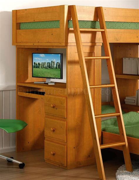 Solid Pine Bunk Bed With Desk by Honey Finish Solid Pine Contemporary Loft Bed With