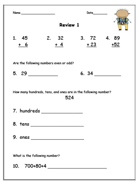 2nd Grade Homework Pages by Math Review Worksheet Second Grade 5 Best Images Of