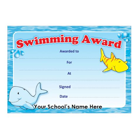 swimming award certificate stickers for teachers