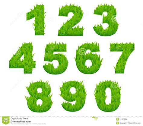 the pattern of numbers represents living environment grass numbers and digits stock vector image of design
