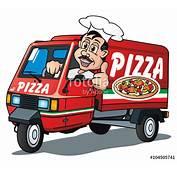 Three Wheeler Pizza Delivery Van Stockfotos Und