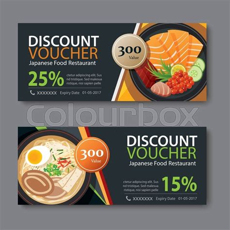 food voucher template discount voucher template with japanese food flat design