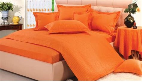 Orange King Size Bedding Sets Ultra Soft Cotton Striped Orange King Size Bed Sheet 3 Set Price Review And Buy In Uae