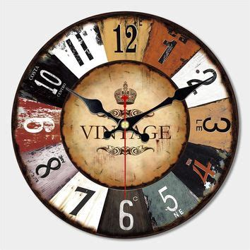 wholesale 34cm vintage silent round large wood kitchen wall clock best antique wall clocks products on wanelo