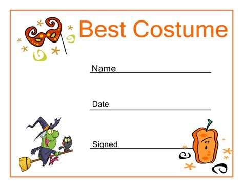 halloween best costume certificate halloween party ideas