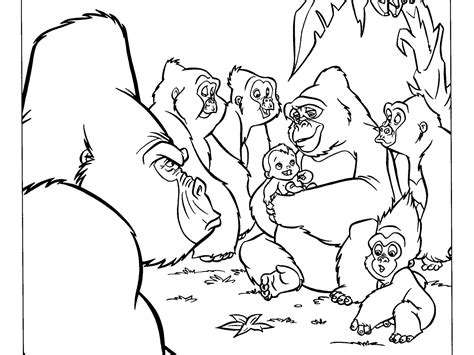 gorilla family coloring page tarzan and the gorilla sleep coloring pages for kids