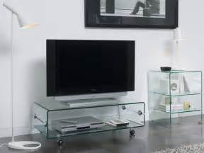 banc tv en verre transparent design clarity