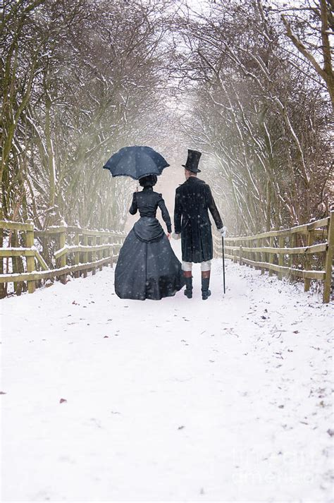 Victorian Shower Bath victorian couple walking in snow photograph by lee avison