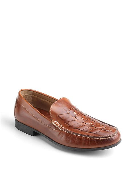 woven leather loafers johnston murphy cresswell woven leather loafers in brown