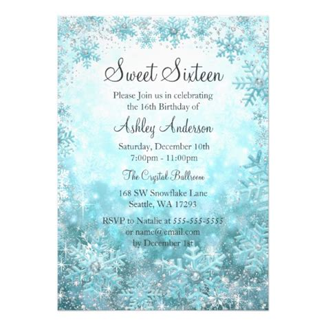 birthday card template winter sweet 16 winter sparkle snowflakes card