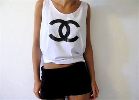 Top Chanel 3 t shirt майка jumpsuit skirt shorts shirt chanel chanel black and white tank top