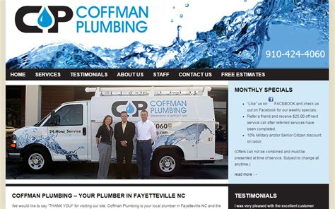 Plumbing Supply Fayetteville Nc by Coffman Plumbing Portfolio Biz Tools One Web Design