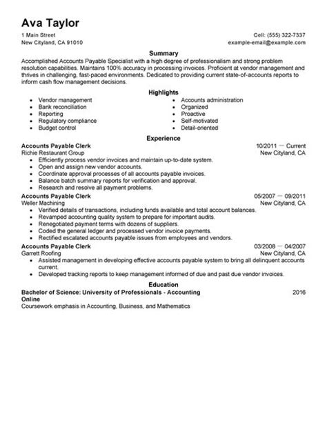 Best Accounts Payable Specialist Resume Example   LiveCareer