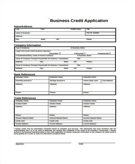 Corporate Credit Format Application Forms Format
