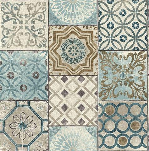 fliesen schimmer tapete designtapete ornamente marmor kacheln blau