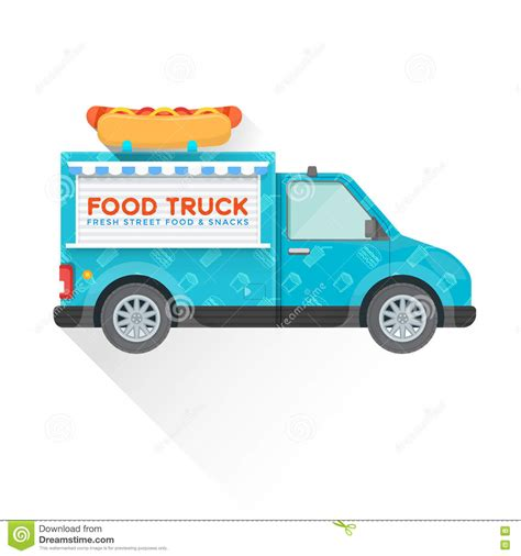 food truck design illustrator food truck delivery vehicle illustration stock vector