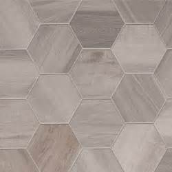 porcelain hexagon 8 inch wood look tile white