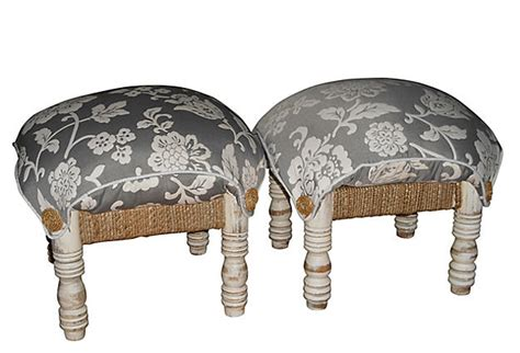 shabby chic chair and ottoman shabby chic ottomans pair omero home