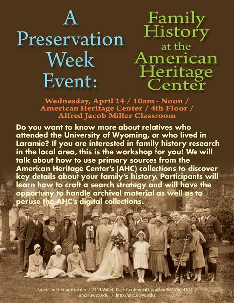week history a preservation week event family history the american