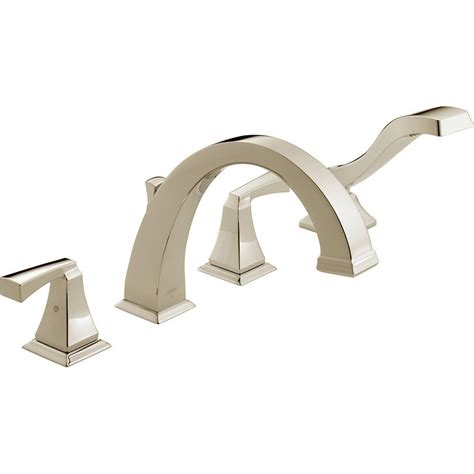 delta dryden 2 handle deck mount tub faucet with