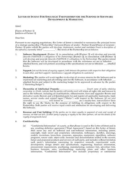 Letter Of Intent For Research Collaboration letter of intent for software development partnership
