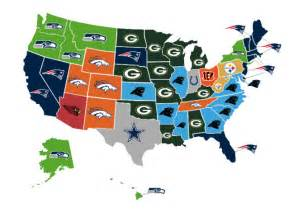 united states map nfl cities map shows which nfl team each state thinks will win this