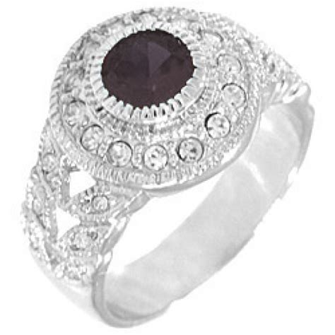 seagull gifts black and white cz ring in rhodium silver