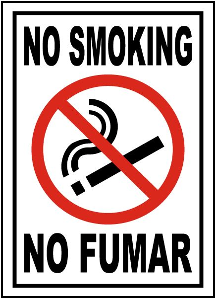 no smoking sign pdf no smoking no fumar sign spanish safety sign