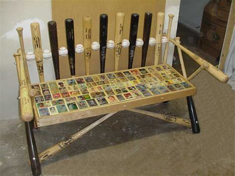 baseball bench baseball bench made of baseball bats baseballs and old