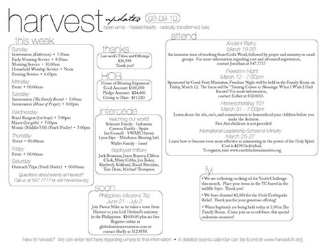 bulletin layout template harvest assembly bulletin on behance
