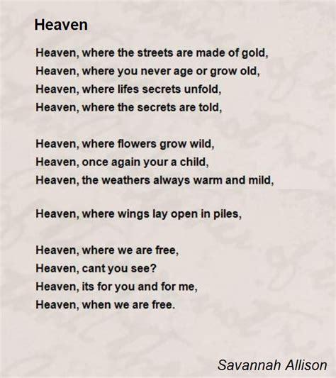 in heaven poem heaven poem by allison poem