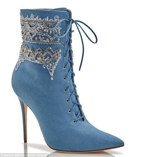 Boots Denim Galaxy Limited rihanna debuts new shoe collaboration with designer manolo blahnik daily mail