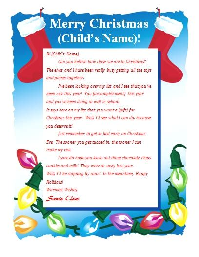 free printable personalised letter from santa template free printable letter from santa christmas pinterest